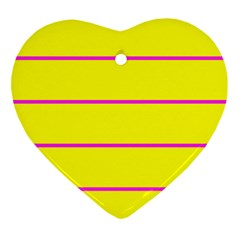 Background Image Horizontal Lines And Stripes Seamless Tileable Magenta Yellow Ornament (Heart)