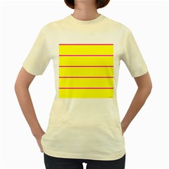 Background Image Horizontal Lines And Stripes Seamless Tileable Magenta Yellow Women s Yellow T Shirt
