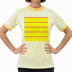 Background Image Horizontal Lines And Stripes Seamless Tileable Magenta Yellow Women s Fitted Ringer T Shirts