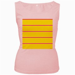 Background Image Horizontal Lines And Stripes Seamless Tileable Magenta Yellow Women s Pink Tank Top