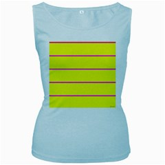 Background Image Horizontal Lines And Stripes Seamless Tileable Magenta Yellow Women s Baby Blue Tank Top