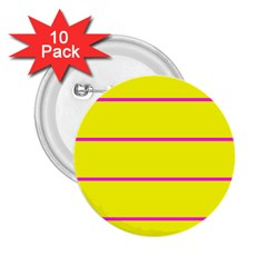 Background Image Horizontal Lines And Stripes Seamless Tileable Magenta Yellow 2.25  Buttons (10 pack)