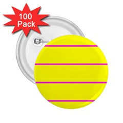 Background Image Horizontal Lines And Stripes Seamless Tileable Magenta Yellow 2 25  Buttons (100 Pack)