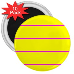 Background Image Horizontal Lines And Stripes Seamless Tileable Magenta Yellow 3  Magnets (10 Pack)