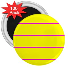 Background Image Horizontal Lines And Stripes Seamless Tileable Magenta Yellow 3  Magnets (100 pack)