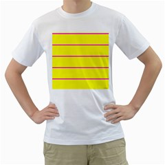 Background Image Horizontal Lines And Stripes Seamless Tileable Magenta Yellow Men s T Shirt (white) (two Sided)