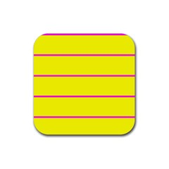 Background Image Horizontal Lines And Stripes Seamless Tileable Magenta Yellow Rubber Coaster (square)