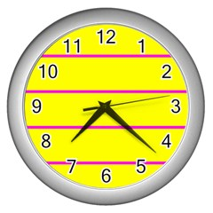 Background Image Horizontal Lines And Stripes Seamless Tileable Magenta Yellow Wall Clocks (silver)