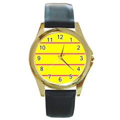 Background Image Horizontal Lines And Stripes Seamless Tileable Magenta Yellow Round Gold Metal Watch