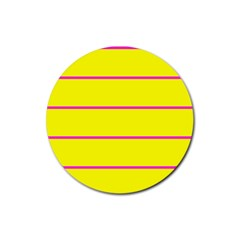 Background Image Horizontal Lines And Stripes Seamless Tileable Magenta Yellow Rubber Coaster (Round)