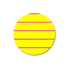 Background Image Horizontal Lines And Stripes Seamless Tileable Magenta Yellow Magnet 3  (round)