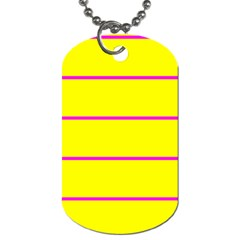 Background Image Horizontal Lines And Stripes Seamless Tileable Magenta Yellow Dog Tag (one Side)