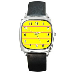 Background Image Horizontal Lines And Stripes Seamless Tileable Magenta Yellow Square Metal Watch