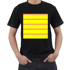 Background Image Horizontal Lines And Stripes Seamless Tileable Magenta Yellow Men s T-Shirt (Black) (Two Sided)