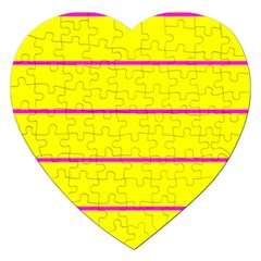 Background Image Horizontal Lines And Stripes Seamless Tileable Magenta Yellow Jigsaw Puzzle (heart)