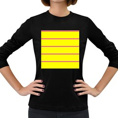 Background Image Horizontal Lines And Stripes Seamless Tileable Magenta Yellow Women s Long Sleeve Dark T Shirts