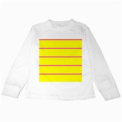 Background Image Horizontal Lines And Stripes Seamless Tileable Magenta Yellow Kids Long Sleeve T Shirts