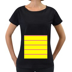 Background Image Horizontal Lines And Stripes Seamless Tileable Magenta Yellow Women s Loose Fit T Shirt (black)