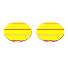 Background Image Horizontal Lines And Stripes Seamless Tileable Magenta Yellow Cufflinks (oval)
