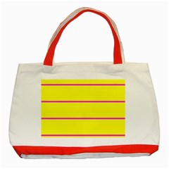 Background Image Horizontal Lines And Stripes Seamless Tileable Magenta Yellow Classic Tote Bag (red)