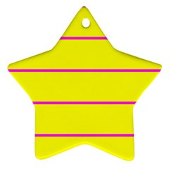 Background Image Horizontal Lines And Stripes Seamless Tileable Magenta Yellow Star Ornament (Two Sides)