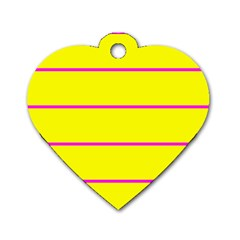 Background Image Horizontal Lines And Stripes Seamless Tileable Magenta Yellow Dog Tag Heart (two Sides)