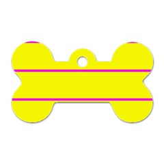 Background Image Horizontal Lines And Stripes Seamless Tileable Magenta Yellow Dog Tag Bone (two Sides)