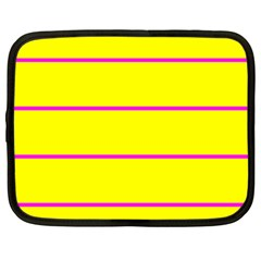 Background Image Horizontal Lines And Stripes Seamless Tileable Magenta Yellow Netbook Case (large)