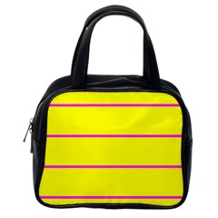 Background Image Horizontal Lines And Stripes Seamless Tileable Magenta Yellow Classic Handbags (one Side)