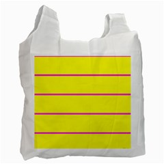 Background Image Horizontal Lines And Stripes Seamless Tileable Magenta Yellow Recycle Bag (two Side)