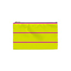 Background Image Horizontal Lines And Stripes Seamless Tileable Magenta Yellow Cosmetic Bag (small)