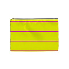 Background Image Horizontal Lines And Stripes Seamless Tileable Magenta Yellow Cosmetic Bag (Medium)