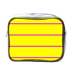 Background Image Horizontal Lines And Stripes Seamless Tileable Magenta Yellow Mini Toiletries Bags