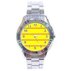 Background Image Horizontal Lines And Stripes Seamless Tileable Magenta Yellow Stainless Steel Analogue Watch