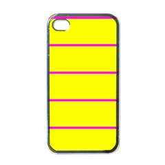 Background Image Horizontal Lines And Stripes Seamless Tileable Magenta Yellow Apple Iphone 4 Case (black)
