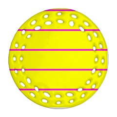 Background Image Horizontal Lines And Stripes Seamless Tileable Magenta Yellow Ornament (round Filigree)