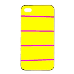 Background Image Horizontal Lines And Stripes Seamless Tileable Magenta Yellow Apple Iphone 4/4s Seamless Case (black)