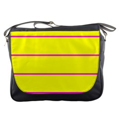 Background Image Horizontal Lines And Stripes Seamless Tileable Magenta Yellow Messenger Bags