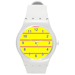 Background Image Horizontal Lines And Stripes Seamless Tileable Magenta Yellow Round Plastic Sport Watch (m)