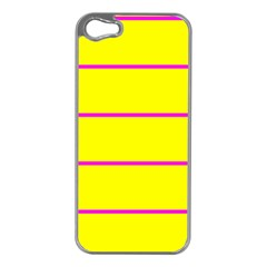 Background Image Horizontal Lines And Stripes Seamless Tileable Magenta Yellow Apple Iphone 5 Case (silver)