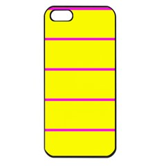 Background Image Horizontal Lines And Stripes Seamless Tileable Magenta Yellow Apple Iphone 5 Seamless Case (black)
