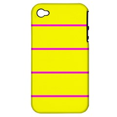 Background Image Horizontal Lines And Stripes Seamless Tileable Magenta Yellow Apple Iphone 4/4s Hardshell Case (pc+silicone)