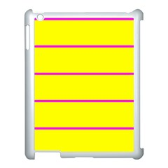 Background Image Horizontal Lines And Stripes Seamless Tileable Magenta Yellow Apple Ipad 3/4 Case (white)