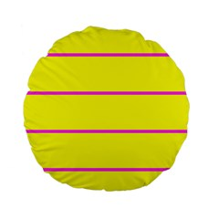 Background Image Horizontal Lines And Stripes Seamless Tileable Magenta Yellow Standard 15  Premium Round Cushions