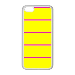 Background Image Horizontal Lines And Stripes Seamless Tileable Magenta Yellow Apple Iphone 5c Seamless Case (white)
