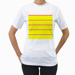Background Image Horizontal Lines And Stripes Seamless Tileable Magenta Yellow Women s T Shirt (white)