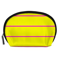 Background Image Horizontal Lines And Stripes Seamless Tileable Magenta Yellow Accessory Pouches (large)
