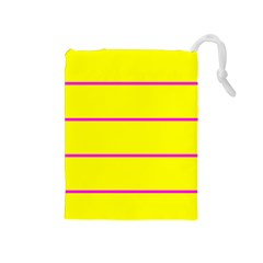 Background Image Horizontal Lines And Stripes Seamless Tileable Magenta Yellow Drawstring Pouches (medium)