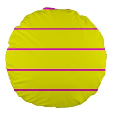 Background Image Horizontal Lines And Stripes Seamless Tileable Magenta Yellow Large 18  Premium Flano Round Cushions