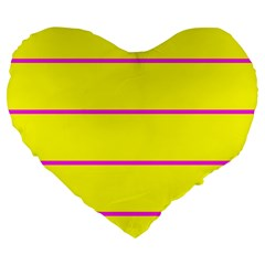 Background Image Horizontal Lines And Stripes Seamless Tileable Magenta Yellow Large 19  Premium Flano Heart Shape Cushions